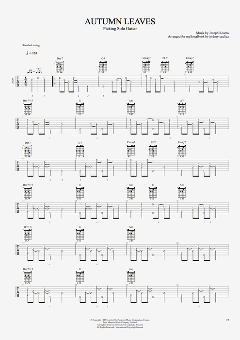 Autumn Leaves - Joseph Kosma tablature