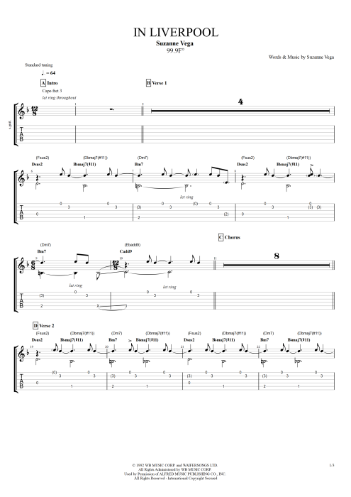 In Liverpool By Suzanne Vega Full Score Guitar Pro Tab