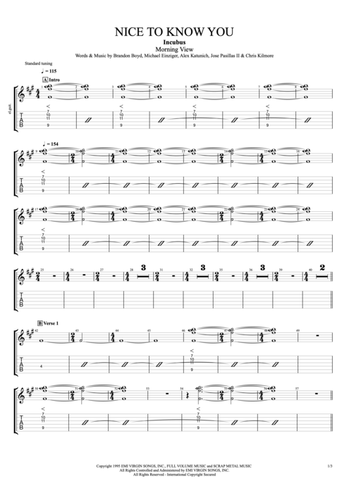 Nice to Know You - Incubus tablature