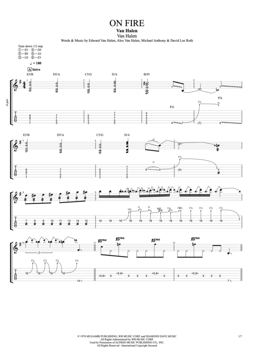 On Fire - Van Halen tablature