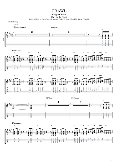 Crawl - Kings of Leon tablature