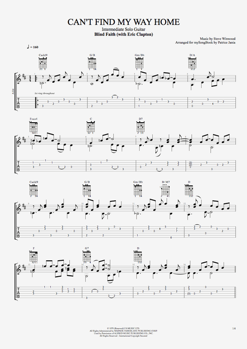 Can't Find My Way Home - Blind Faith tablature