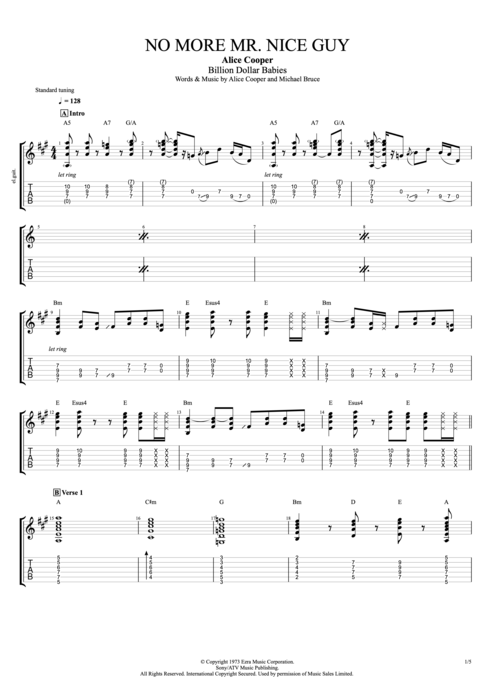 No More Mr Nice Guy By Alice Cooper Full Score Guitar