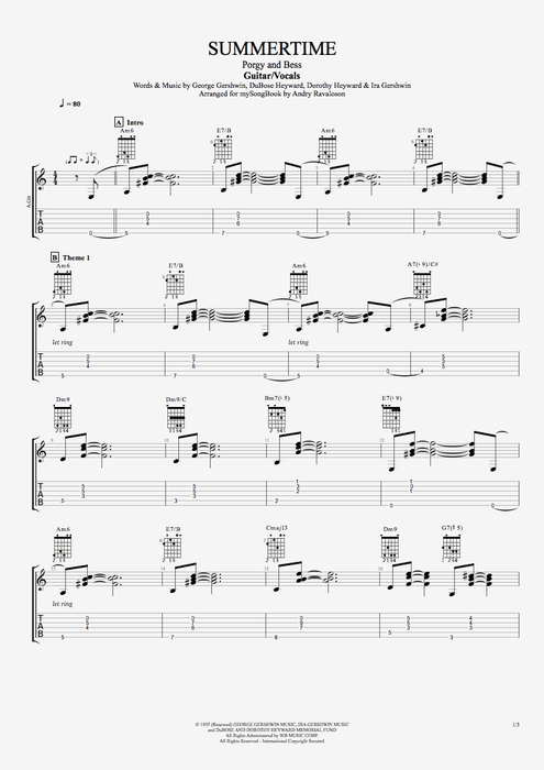 Summertime - George Gershwin tablature