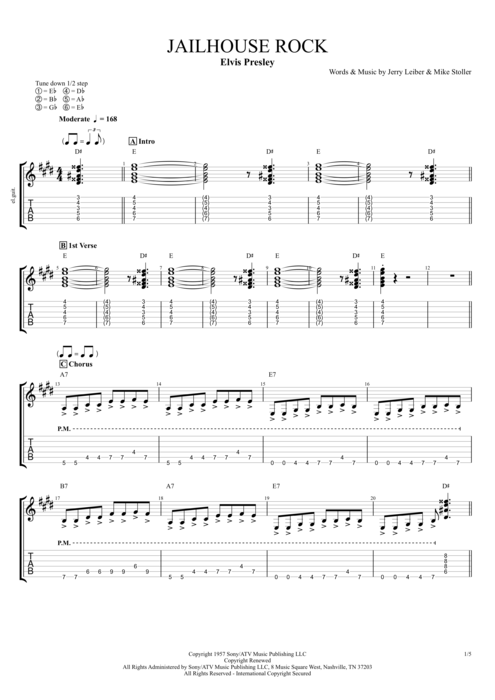 Jailhouse Rock - Elvis Presley tablature
