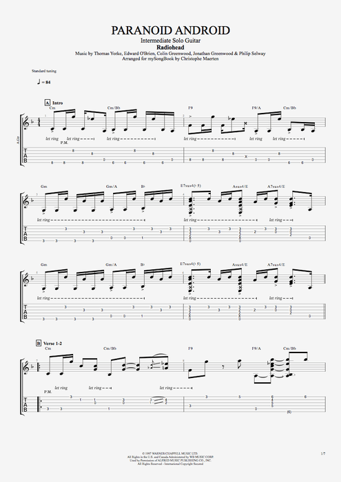 Paranoid Android - Radiohead tablature