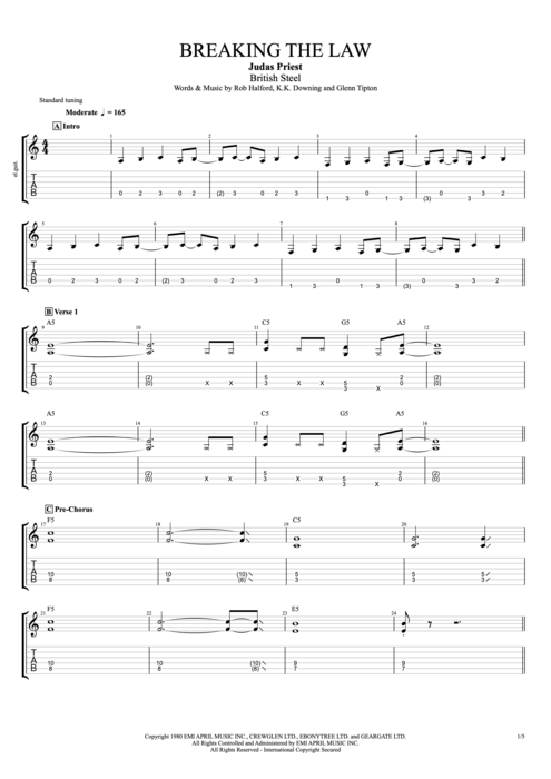 Breaking the Law - Judas Priest tablature