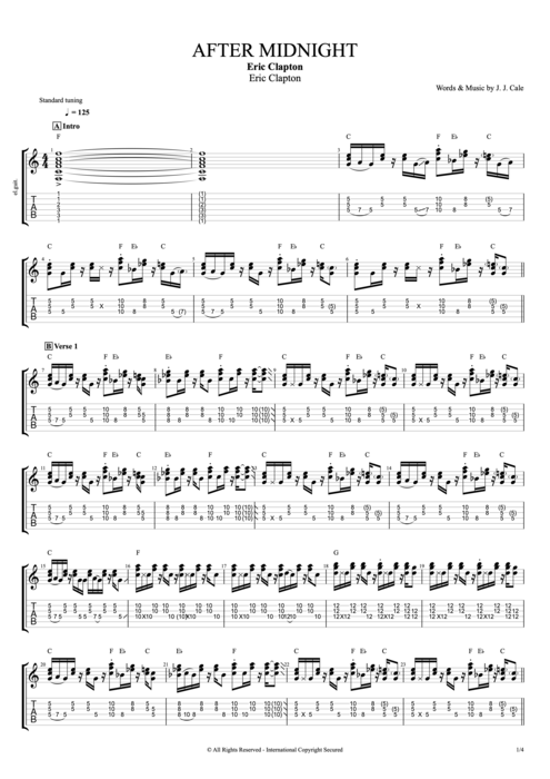After Midnight - Eric Clapton tablature