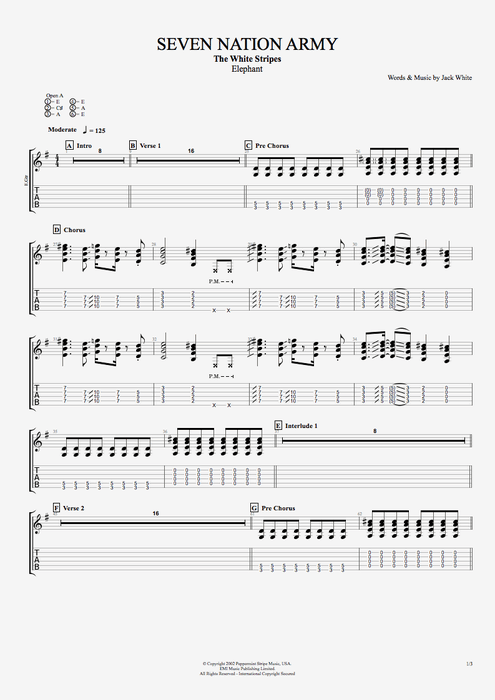 Seven Nation Army - The White Stripes tablature