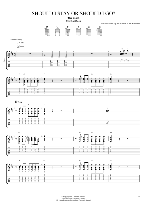 Should I Stay or Should I Go - The Clash tablature