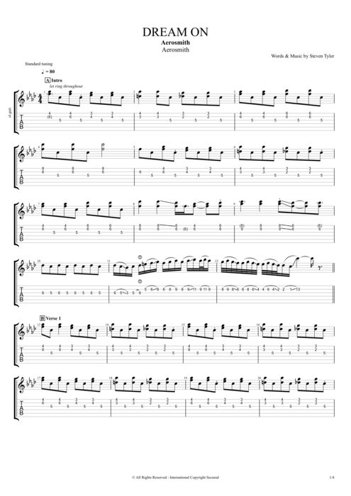 Dream On - Aerosmith tablature