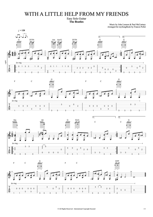 With a Little Help from My Friends - The Beatles tablature