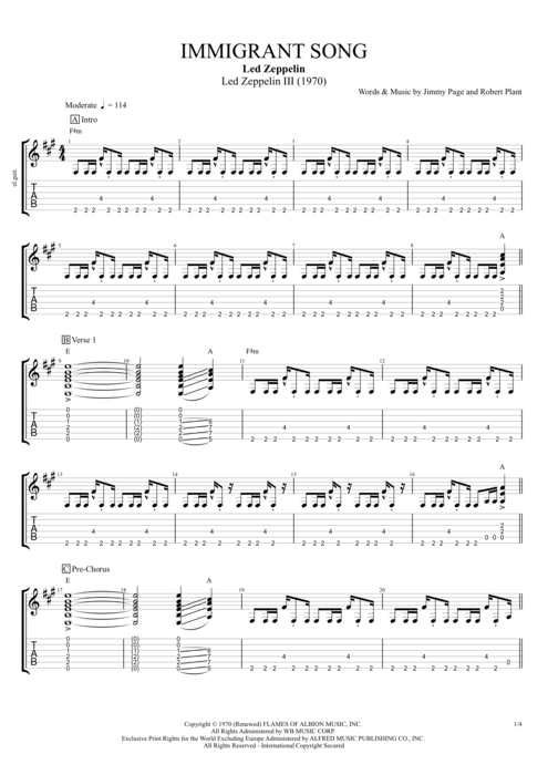 Immigrant Song - Led Zeppelin tablature