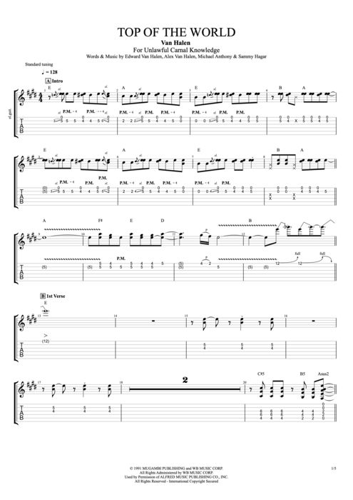 Top of the World - Van Halen tablature