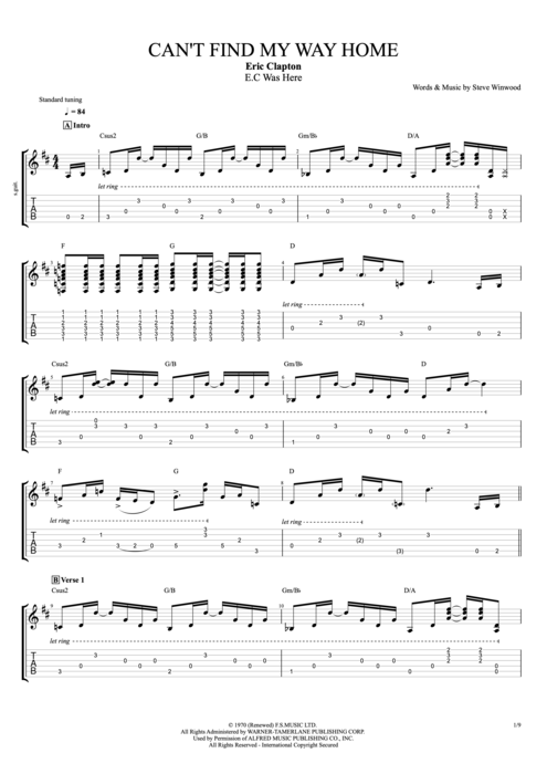 Can't Find My Way Home - Eric Clapton tablature