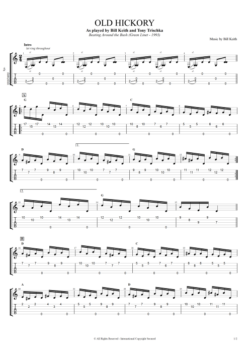 Old Hickory - Bill Keith tablature