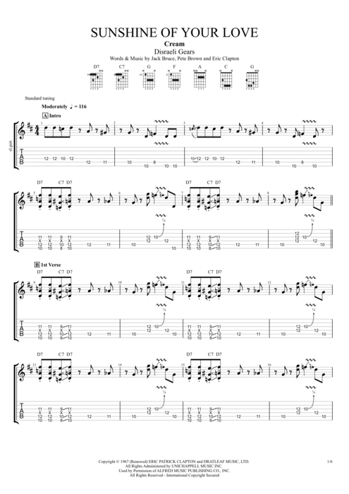 Sunshine of Your Love - Cream tablature