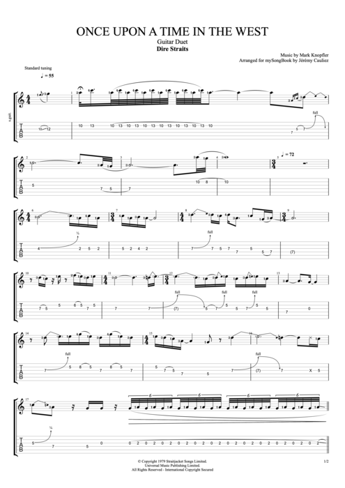 Once Upon a Time in the West - Dire Straits tablature