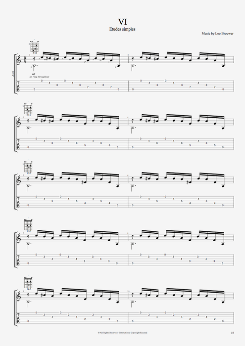 Etude simple VI - Leo Brouwer tablature