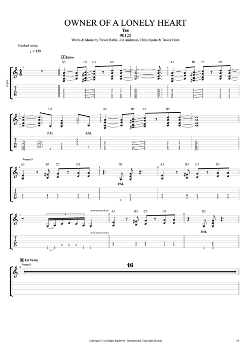 Owner of a Lonely Heart - Yes tablature