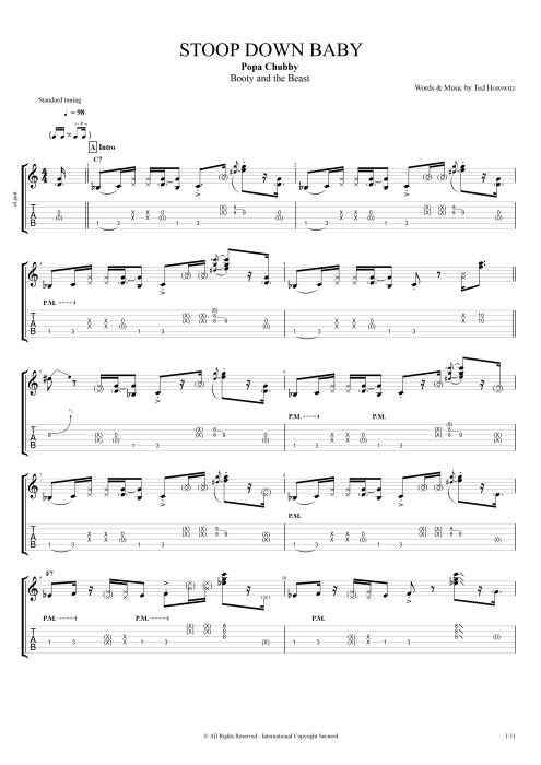 Stoop Down Baby - Popa Chubby tablature