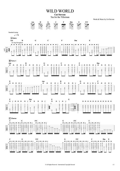 Wild World - Cat Stevens tablature