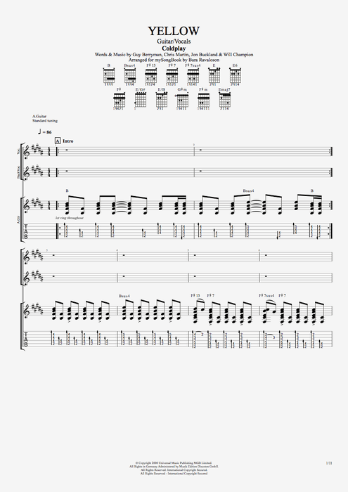 Yellow - Coldplay tablature