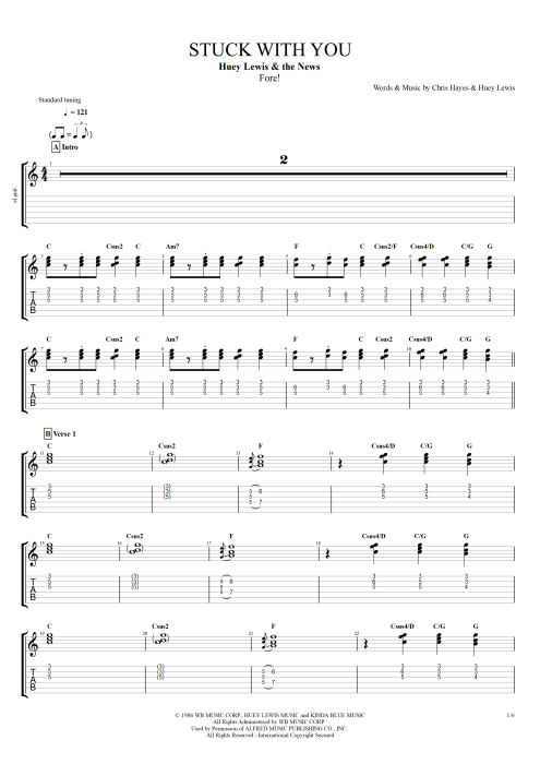 Stuck With You - Huey Lewis and the News tablature