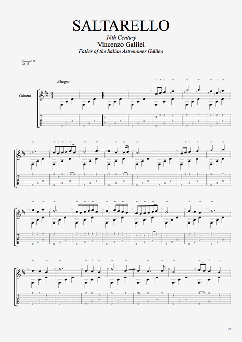 Saltarello - Vincenzo Galileï  tablature