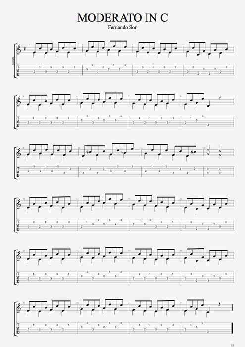 Moderato in C - Fernando Sor tablature
