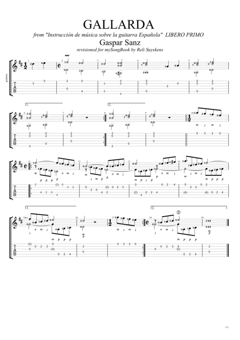 Gallarda - Gaspar Sanz tablature