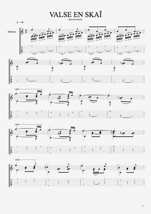 Valse en skaï - Roland Dyens tablature