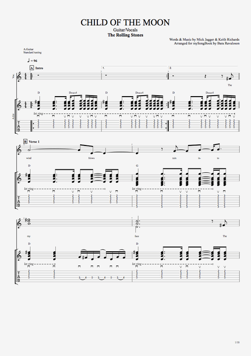 Child of the Moon - The Rolling Stones tablature