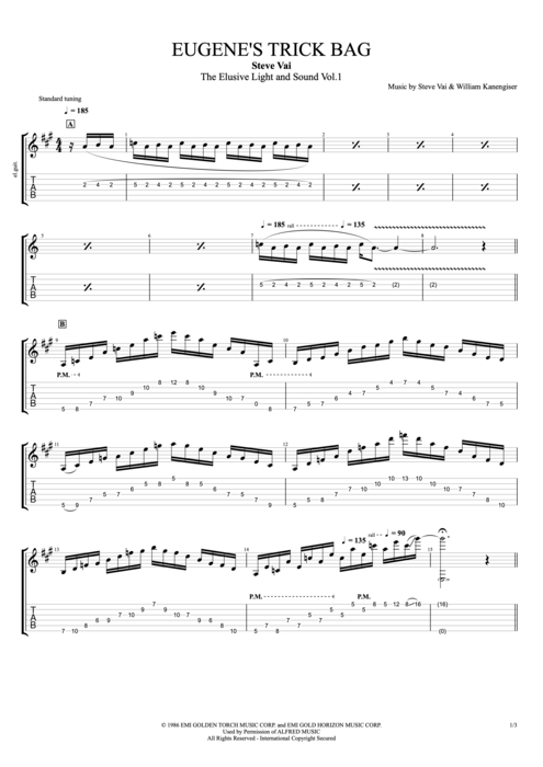 Eugene's Trick Bag (from Crossroads) - Steve Vai tablature