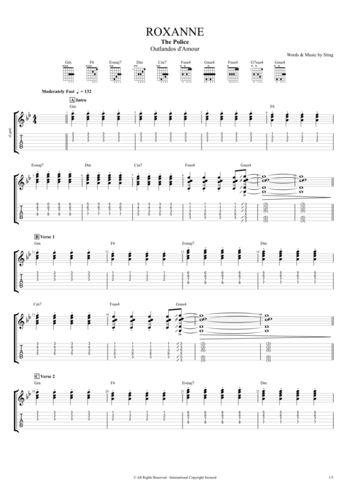 Roxanne - The Police tablature