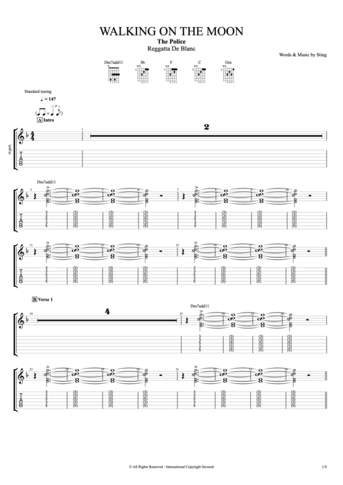 Walking on the Moon - The Police tablature