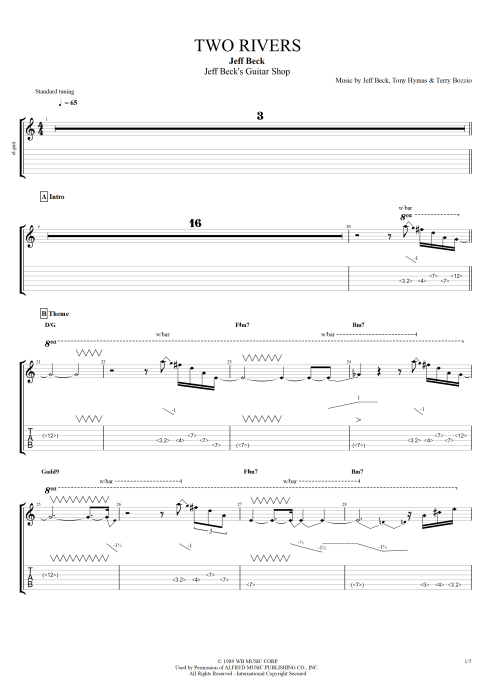 Two Rivers - Jeff Beck tablature