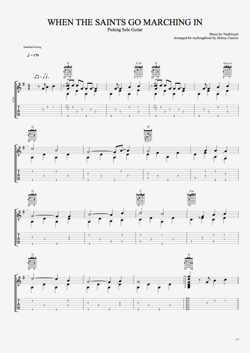 When the Saints Go Marching In - Traditional tablature