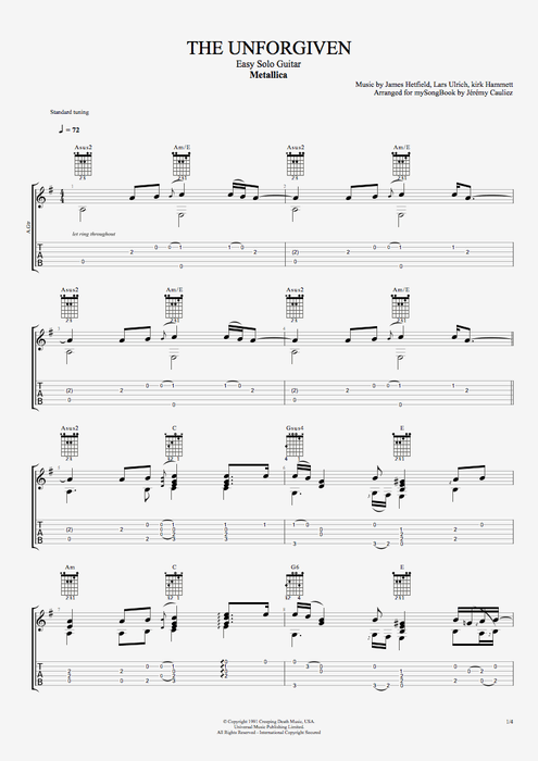 The Unforgiven - Metallica tablature