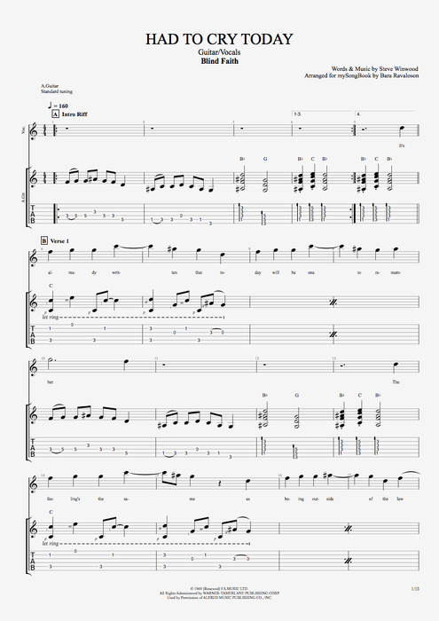 Had to Cry Today - Blind Faith tablature