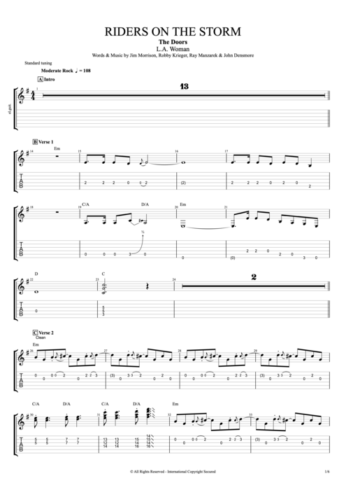 Riders on the Storm - The Doors tablature