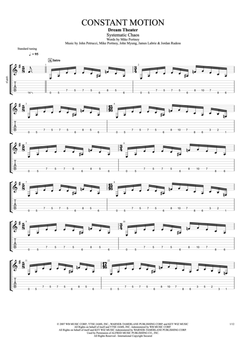 Constant Motion - Dream Theater tablature
