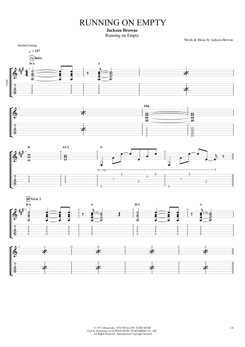Running on Empty - Jackson Browne tablature