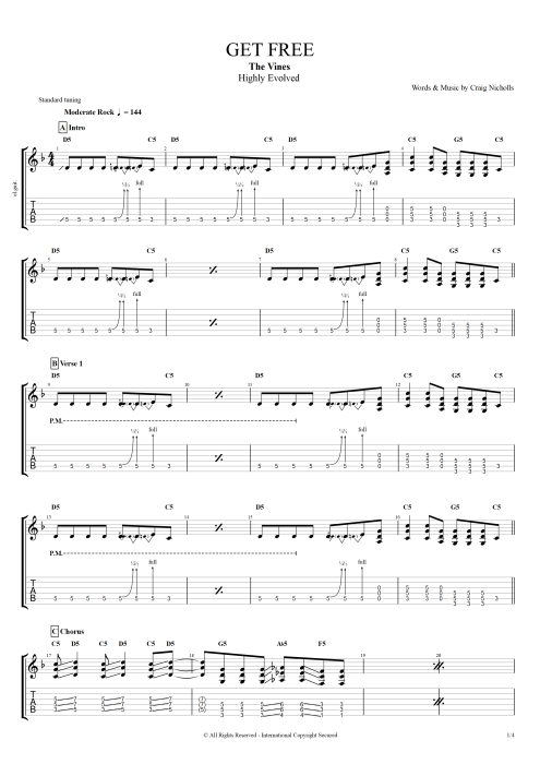 Get Free - The Vines tablature