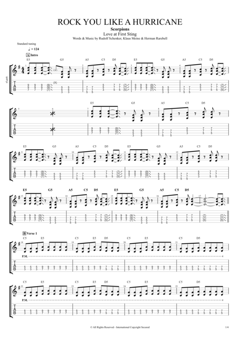 Rock You Like a Hurricane - Scorpions tablature