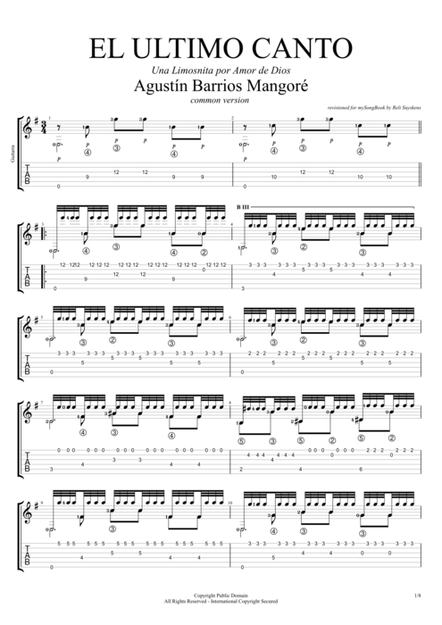 El Ultimo Canto (Common version) - Augustin Barrios Mangore tablature