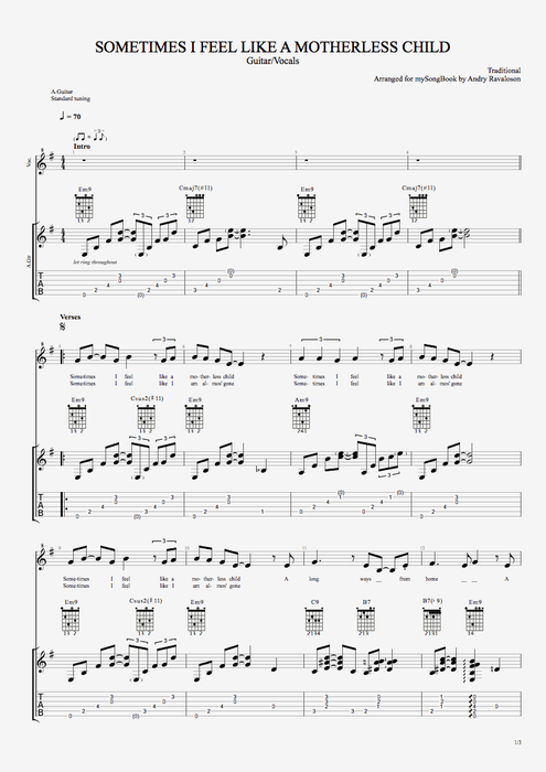 Sometimes I Feel Like a Motherless Child - Traditional tablature