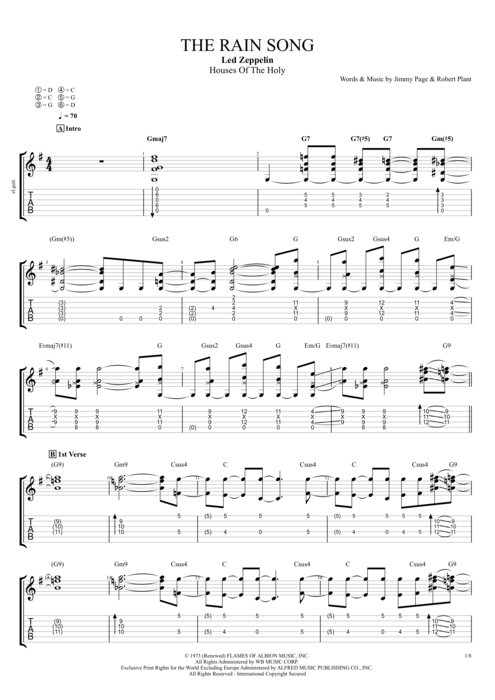 The Rain Song - Led Zeppelin tablature