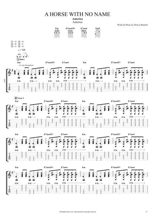 A Horse with No Name - America tablature