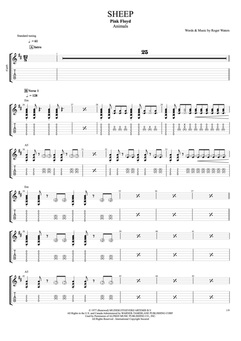 Sheep - Pink Floyd tablature